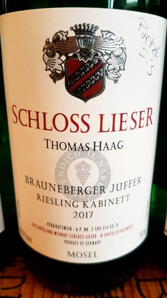 Brauneberger Juffer-Riesling-Kabinett-2017-Schloss-Lieser-niederberg helden-mosella-germania-thomas haag-degustazione-storia azienda-abbinamento-antonio indovino-degustatore ufficiale-sommelier